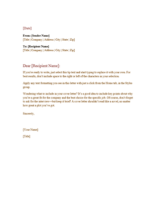 formal business letter template word .