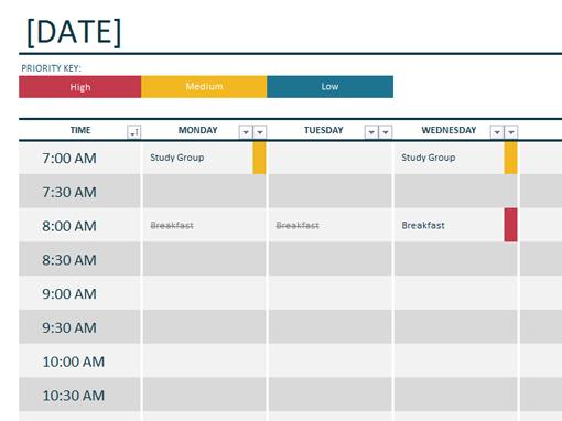 microsoft office schedule template - Ex