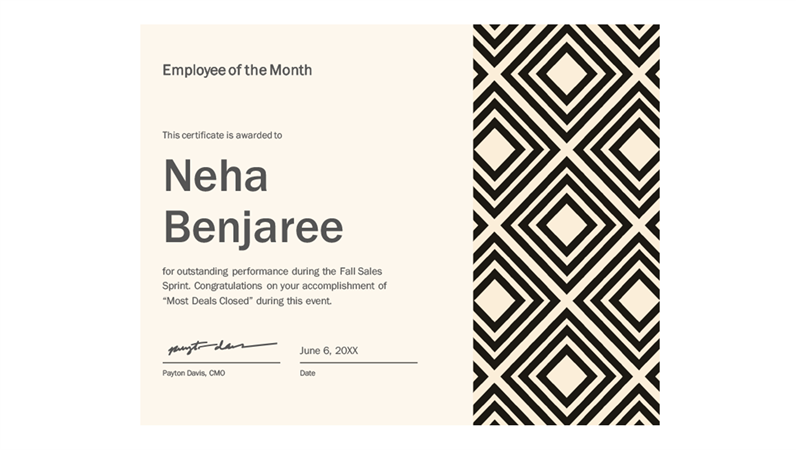 employee of month certificate template .