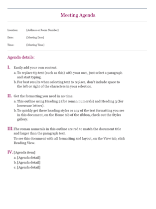 Meeting Agenda Layouts  Agenda For Meeting Template