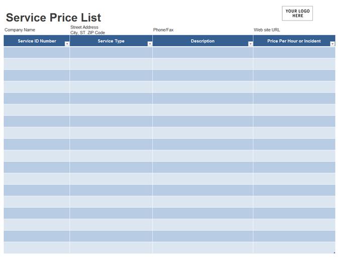 service pricing template - Roho.4senses.co