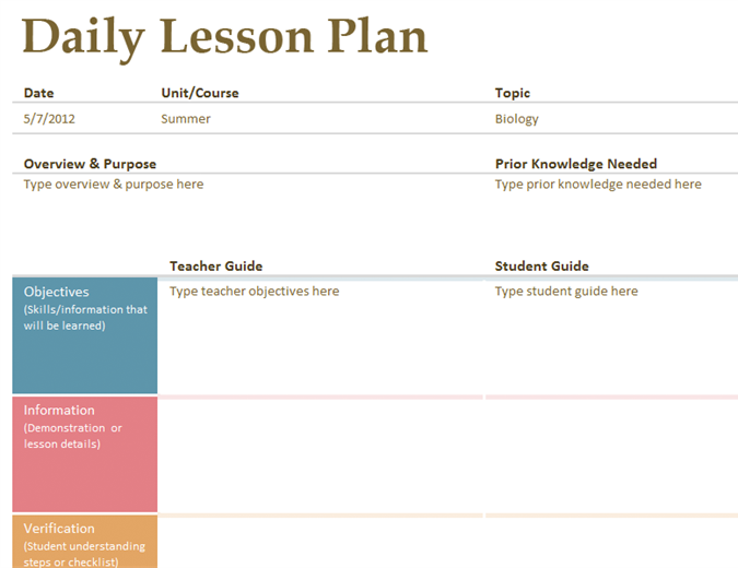 Daily Lesson Planner – Printable Editable Blank