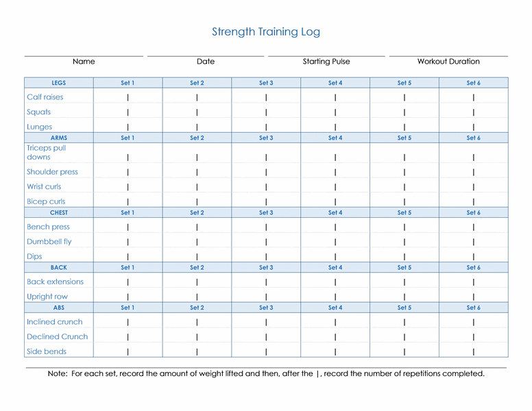 Strength Training Log Weight Logs Free Blank Workout