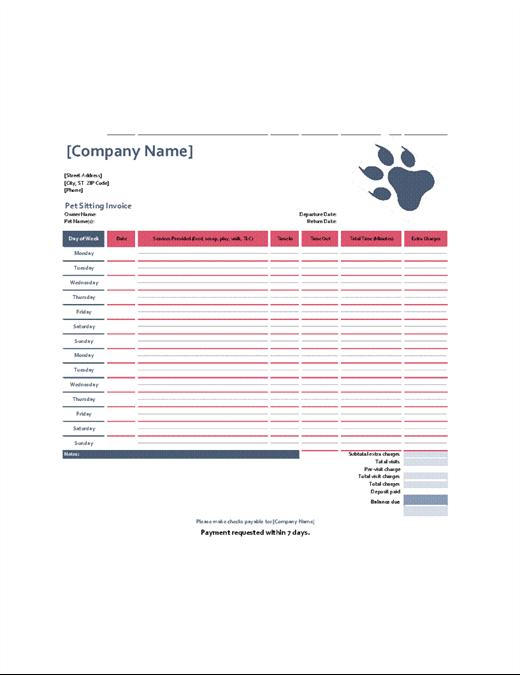 pet sitting invoice template  Pet-sitting invoice