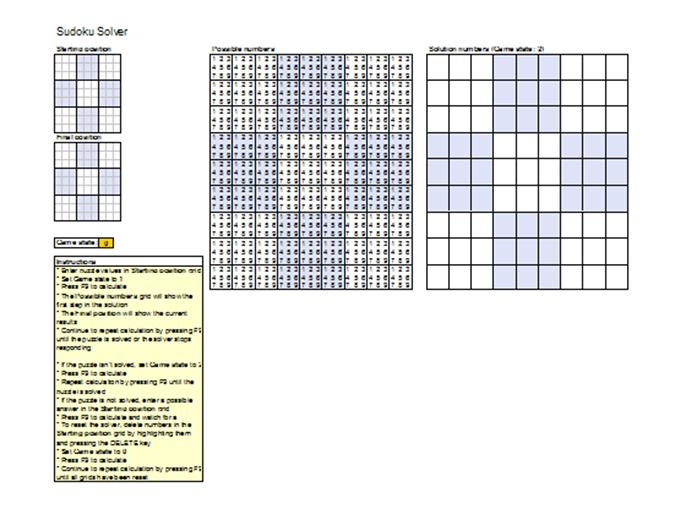 Excel sudoku template