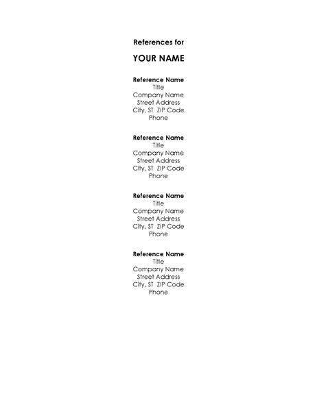 Reference list template for resume altavistaventures Gallery