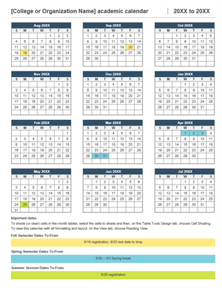 2017-2018 academic calendar - Office Templates