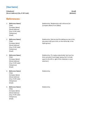 References for a resume format altavistaventures Image collections