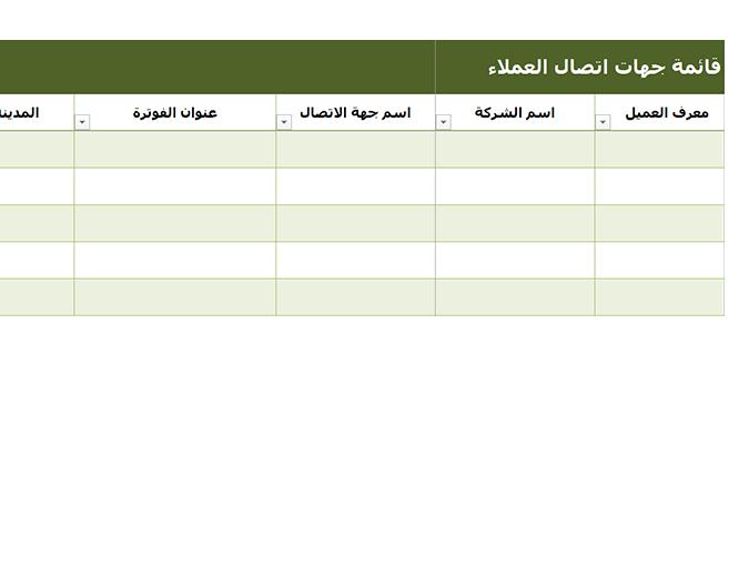 قائمة جهات اتصال العميل الأساسية