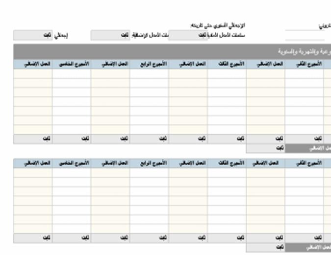 بطاقة حضور وانصراف الموظف (يومية وأسبوعية وشهرية وسنوية)