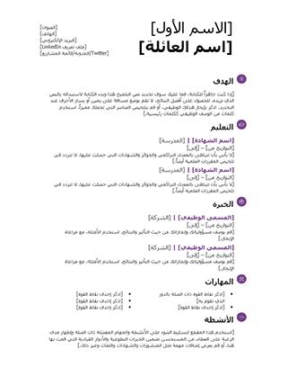 السيرة الذاتية للطالب (تصميم حديث)