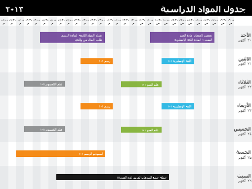 جدول الفصل الدراسي (حسب الوقت)