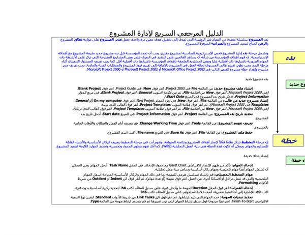 الدليل المرجعي السريع لإدارة المشروعات