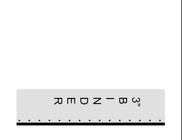 عنوان مدرج بطول 7.62 سنتيمتر مع نص عمودي