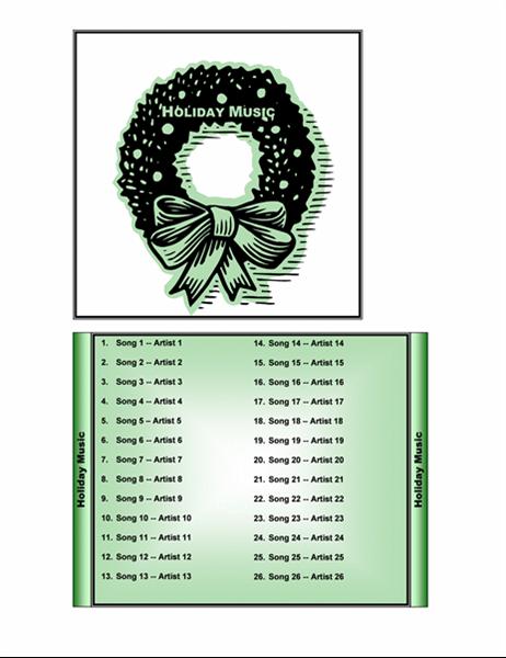 غلاف تسمية لعلبة القرص المضغوط الخاصة بموسيقى العطلة