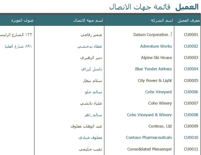 قائمة جهات اتصال العملاء