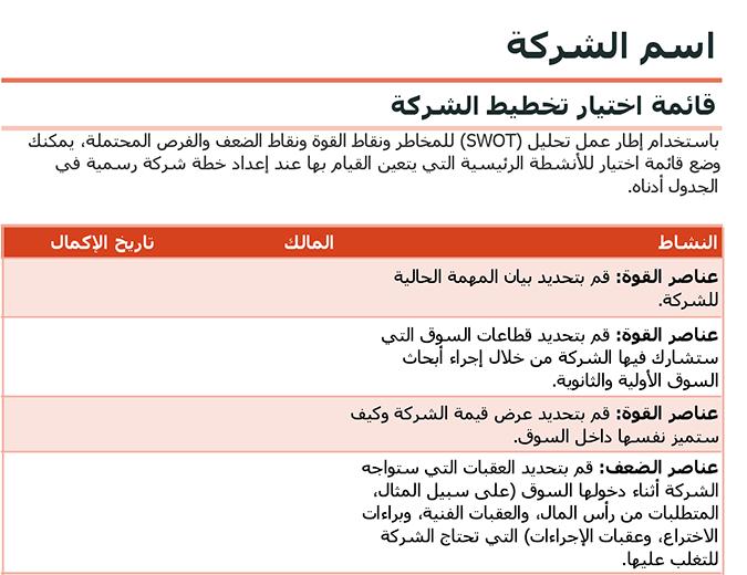 قائمة اختيار خطة الشركة تحتوي على تحليل SWOT