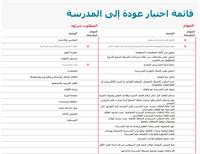 قائمة الاختيار للعودة إلى المدرسة
