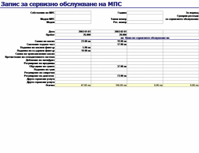 Запис за сервизно обслужване на МПС