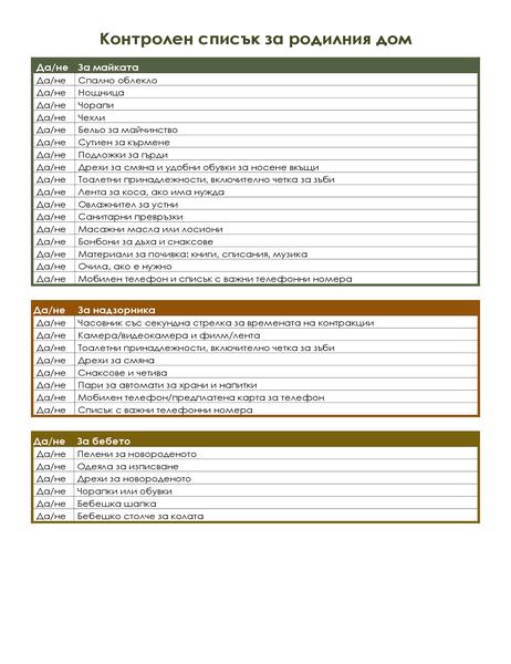 Контролен списък за родилния дом