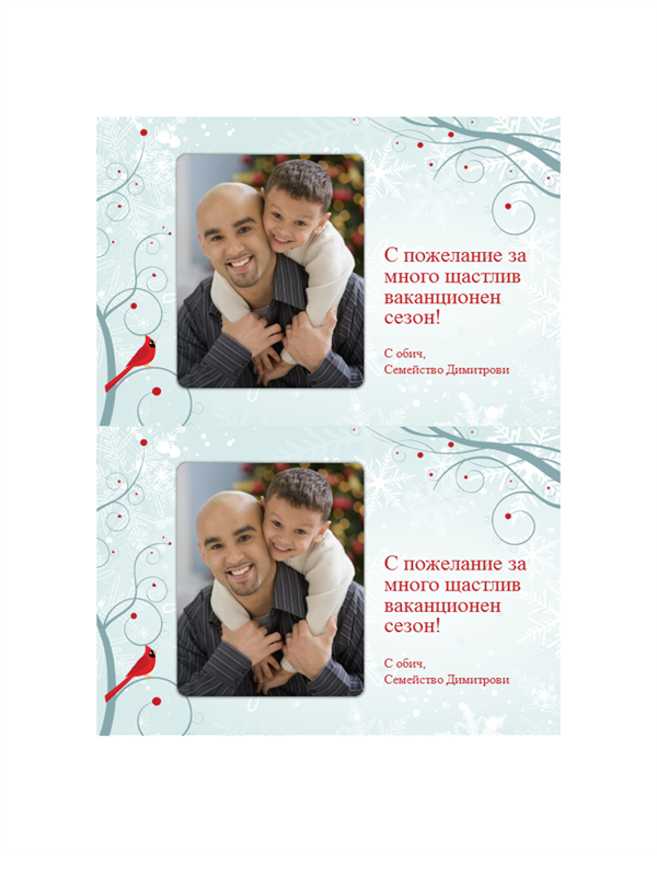 Фото картички с празнична снежинка (по две на страница)