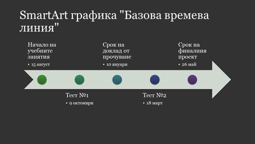 Слайд със SmartArt графика на времева линия (бяла на тъмносив фон, широк екран)