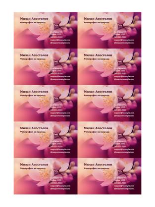 Визитки (снимка с цветя)