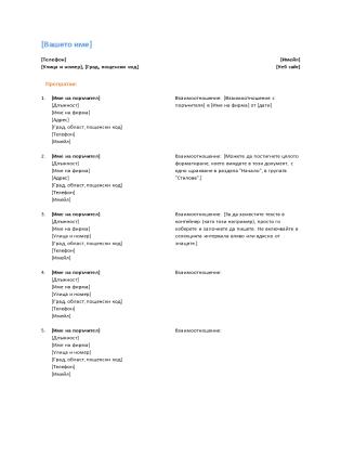 Списък с поръчители за автобиография (функционален модел)