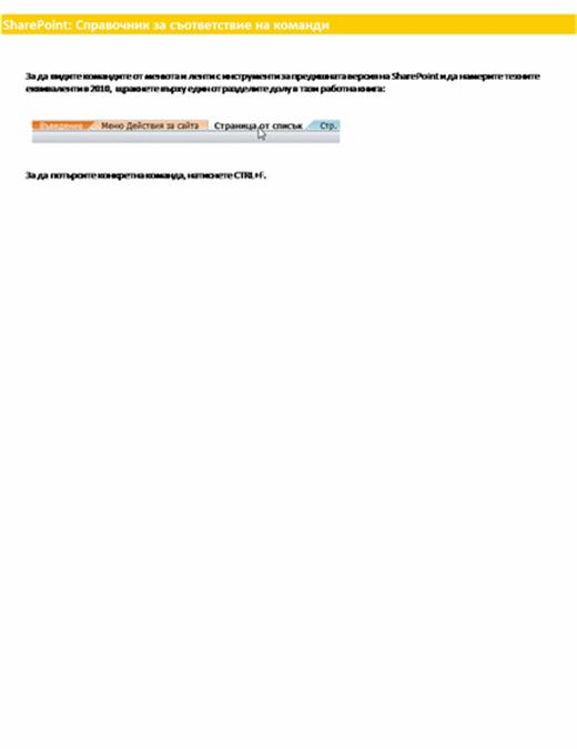 Справочна работна книга за лентата на SharePoint Server