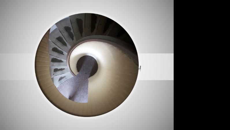 Анимирана картина, която се движи по спирала и изчезва, със заглавие