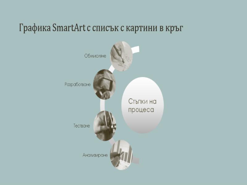 Процес с графики SmartArt и списък с картини в кръг (за широк екран)