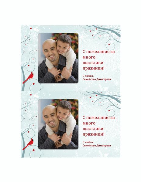 Празнична картичка със снимка (дизайн със снежинка)
