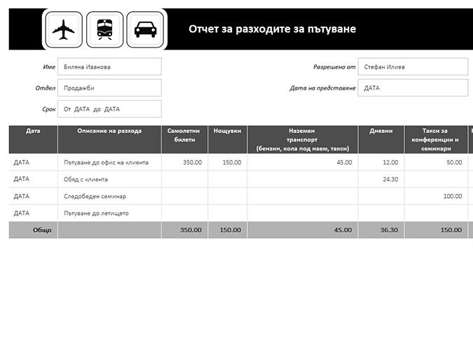 Отчет за разходите при пътуване с регистър за пропътувано разстояние