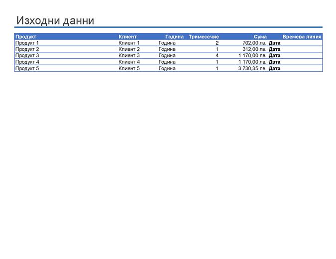 Примерен отчет с обобщена таблица