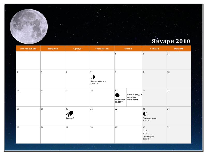 Лунен календар за 2010 г., универсално време