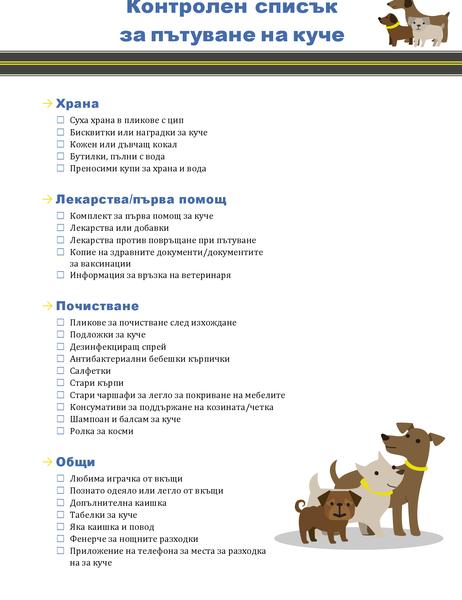 Контролен списък за пътуване на куче