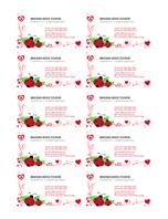 Визитки (калинки и сърца, подравнени отляво, 10 на страница)