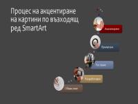 Процес на акцентиране на картини по възходящ ред (многоцветно върху сиво), широк екран