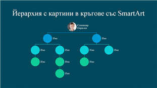 Слайд на организационна диаграма на йерархия с картини в кръгове (бял със син фон), за широк екран
