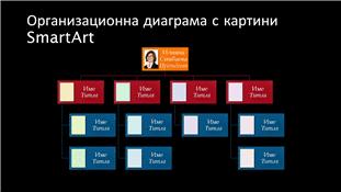 Слайд с организационна диаграма със снимки (многоцветна или в черно), широк екран
