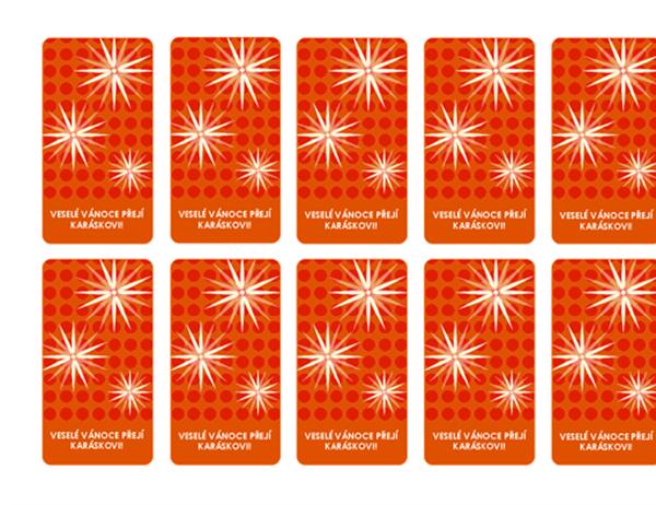 Vánoční visačky na dárky (s motivem sněhové vločky, pro formáty Avery 5871, 8871, 8873, 8876 a 8879)
