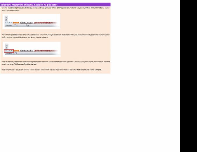 InfoPath 2010: Sešit s mapováním příkazů z nabídek na pás karet