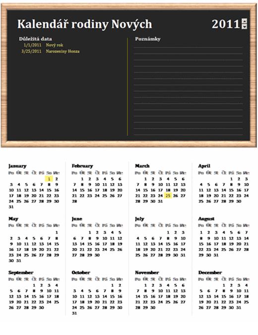 Rodinný kalendář (libovolný rok, po–ne)