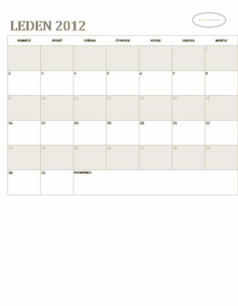 Kalendář pro malé podniky (libovolný rok, po–ne)