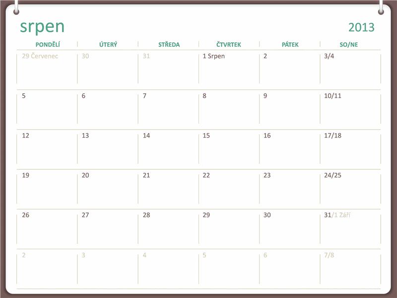 Kalendář na školní rok 2013–2014 (srpen)