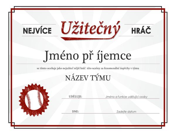 Diplom pro nejužitečnějšího hráče