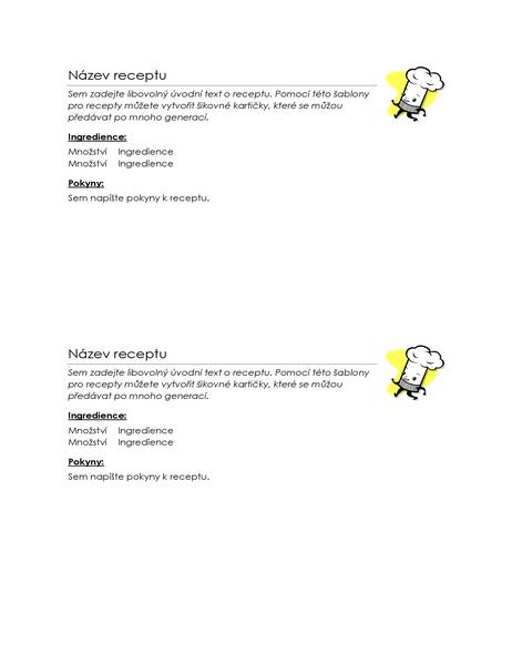 Karty s recepty (2 na stránku)