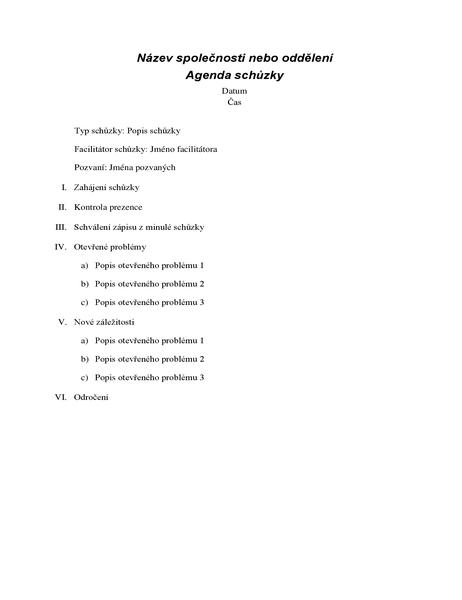 Agenda formální schůzky