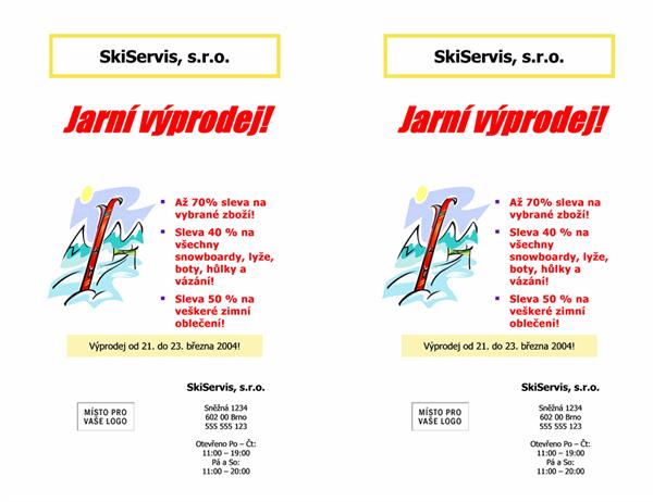 Oznámení výprodeje (8,5 x 11, 2 položky)