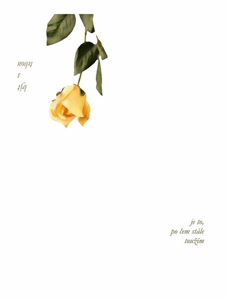 Milostná pohlednice (s růží)